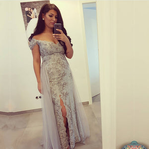 Silver Lace Off The Shoulder Mermaid Prom Dresses With Slit