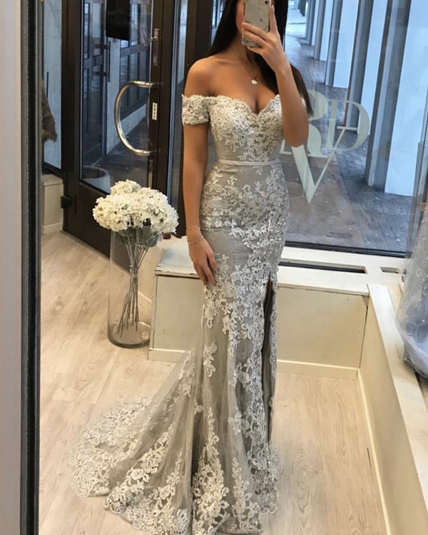 Silver Evening Dress Off Shoulder