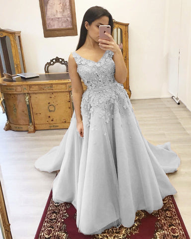 Silver Prom Dresses Appliques