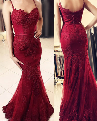Sweetheart Mermaid Prom Dresses Spaghetti Straps