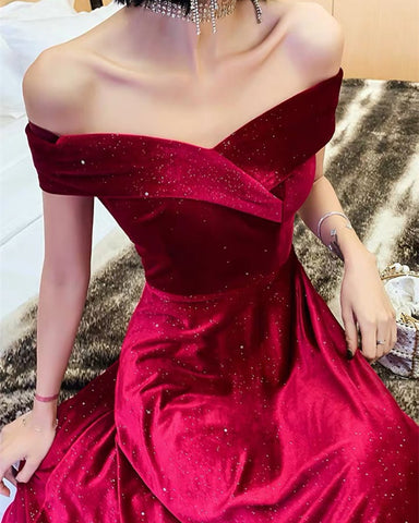 Image of Sparkle Velvet Prom Dresses Burgundy