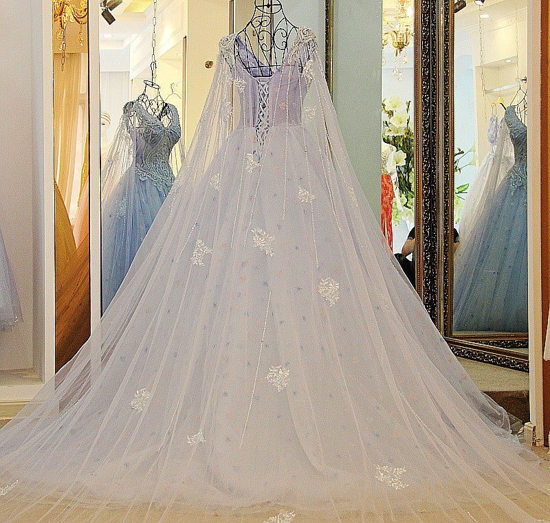 A Line V Neck Lace Crystal Beaded White/ Light blue Wedding Dresses Floor Length