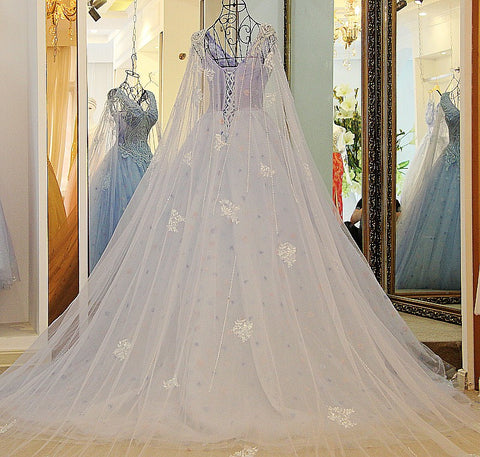 Image of A Line V Neck Lace Crystal Beaded White/ Light blue Wedding Dresses Floor Length