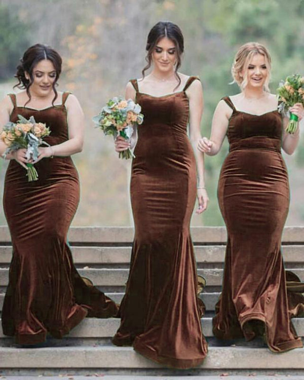 Tan Bridesmaid Dresses Velvet