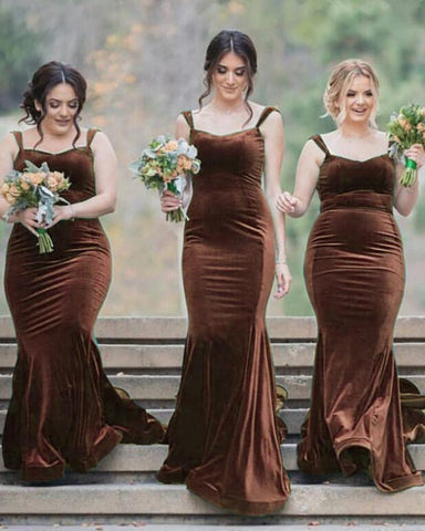 Image of Tan Bridesmaid Dresses Velvet