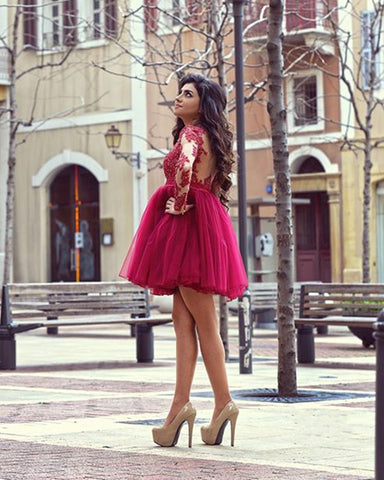 Image of Elegant Homecoming Dresses Long Sleeves