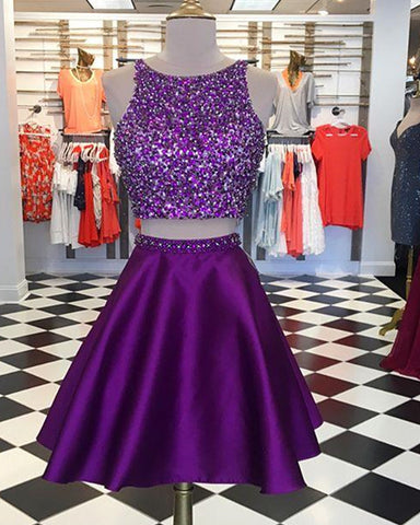 Image of Purple Homecoming Dresses Two Piece
