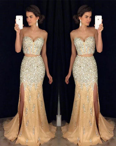 Image of Two Piece Prom Dresses Mermaid