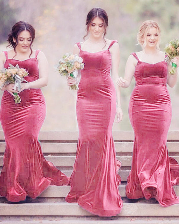 Elegant Sweetheart Mermaid Velvet Bridesmaid Dresses