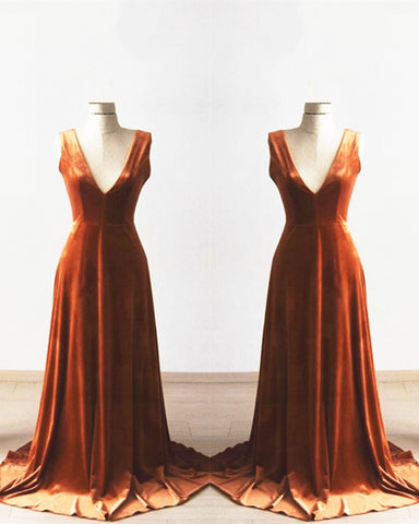 Image of Velvet Bridesmaid Dresses Long