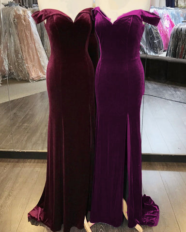 Image of Dark Velvet Bridesmaid Dresses