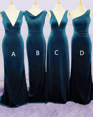 Image of Navy Blue Velvet Bridesmaid Gowns