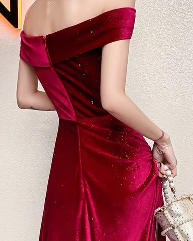 Image of Off Shoulder Velvet Sparkle Dress