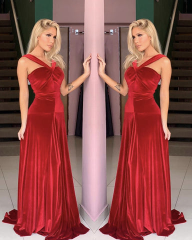 Halter Velvet Bridesmaid Dresses Floor Length