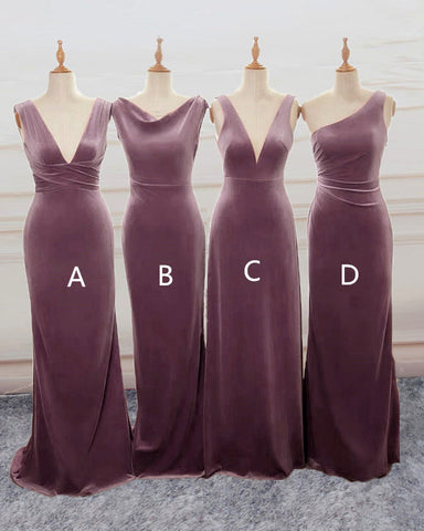 Image of Velvet Mauve Dresses Bridesmaid Mixed Style