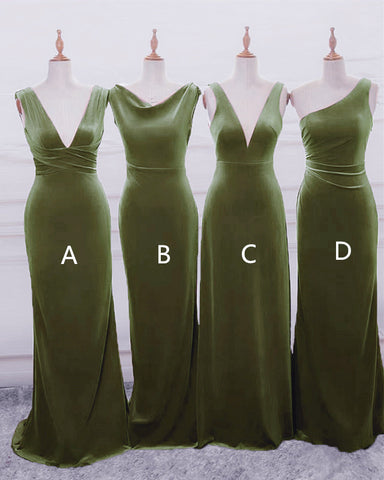 Image of Sage Green Velvet Bridesmaid Dresses Mimatched