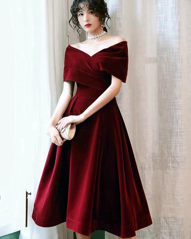 Image of Velvet Midi Bridesmaid Dresses Off The Shoulder