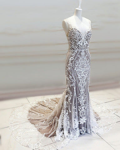 Image of Lace Embroidery Mermaid Wedding Dress V Neck Sweep Train