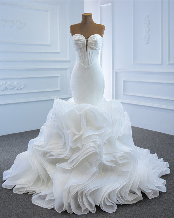 Sexy Mermaid Wedding Dress Plunge Neck Ruffles Train