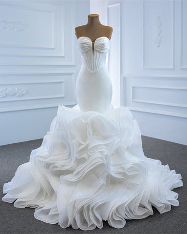 Image of Sexy Mermaid Wedding Dress Plunge Neck Ruffles Train