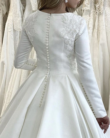 Modest Satin Wedding Dress Long Sleeves Lace Appliques