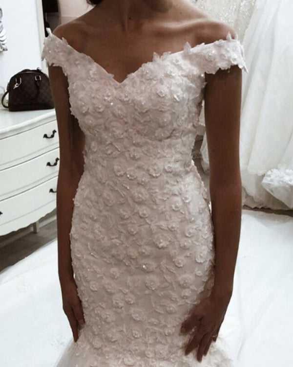 Elegant Mermaid Wedding Dresses Lace Embroidery Sweep Train Off The Shoulder