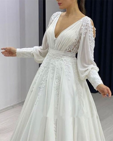 Image of Boho Chiffon Wedding Dress Cold Sleeves