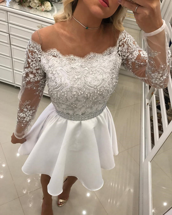 White Homecoming Dresses Lace Long Sleeves