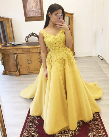 Yellow Prom Dresses Appliques
