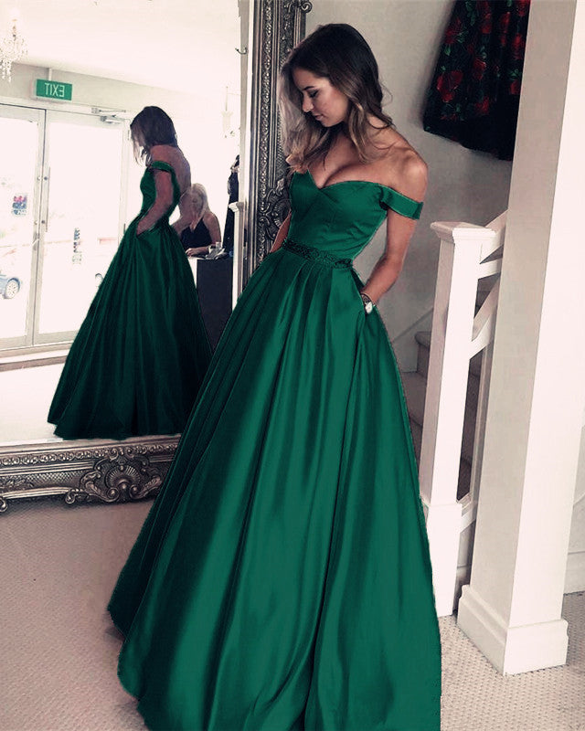 d1e739a1543 Dark Green Satin V-neck Prom Long Dresses Off Shoulder Evening Gowns Beaded  Sashes. alinanova 7007 prom dresses emerald green ...