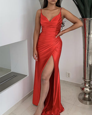 Slit Mermaid Satin Dress V Neck Pleated