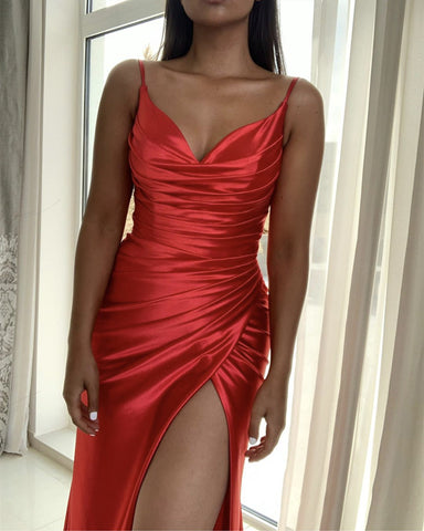 Image of Slit Mermaid Satin Dress V Neck Pleated