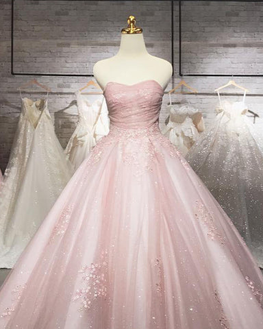 Mauve Wedding Dress Tulle Sweetheart With Sparkles
