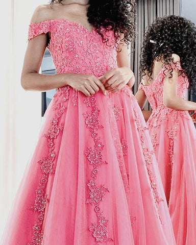 A Line Sweetheart Prom Dresses Tulle Appliques