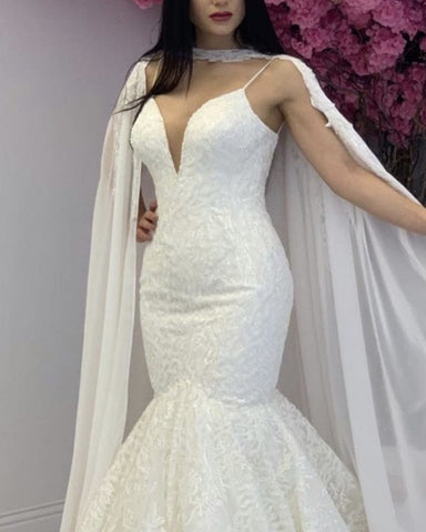 Image of Cape Back Wedding Dress Mermaid