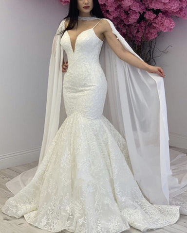 Image of Mermaid Wedding Dress With Cape