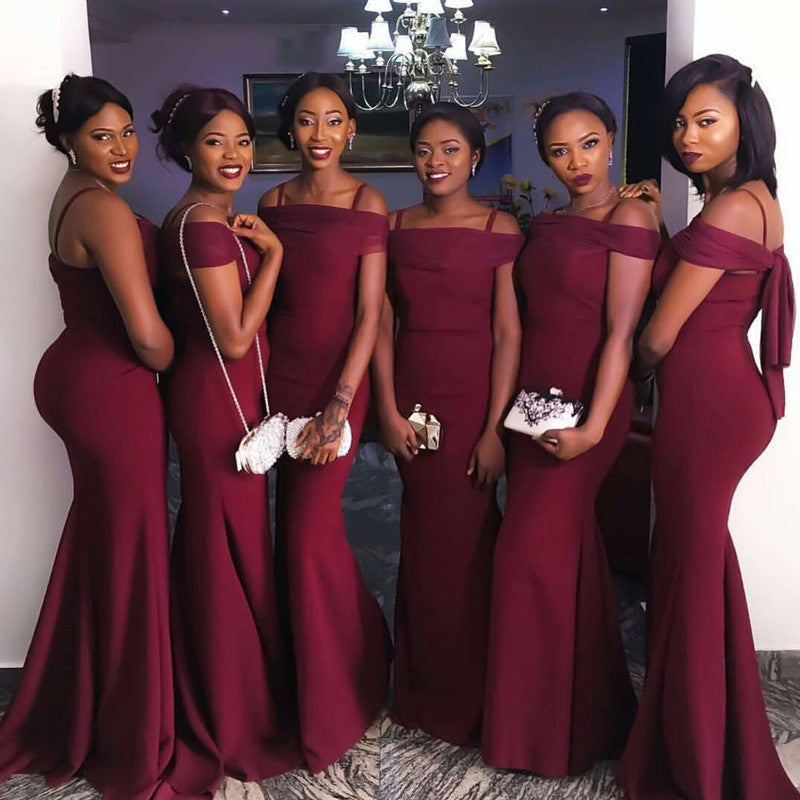 6db731a389c Sexy Off The Shoulder Long Burgundy Mermaid Bridesmaid Dresses ...