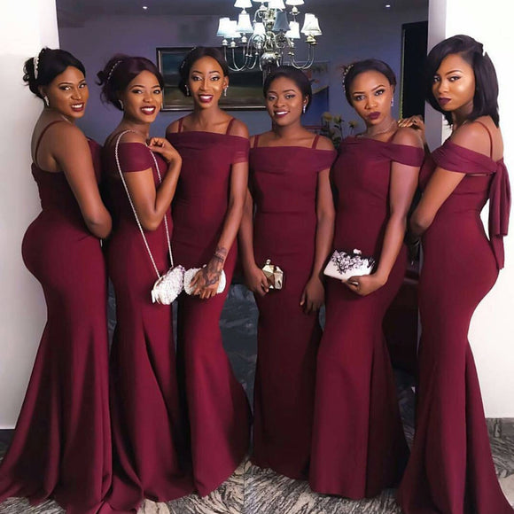 5fe311f178b Sexy Off The Shoulder Long Burgundy Mermaid Bridesmaid Dresses