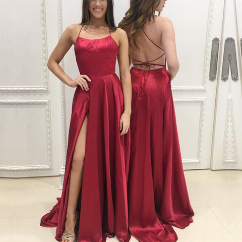 Image of Long Satin Open Back Prom Dresses Leg Slit Evening Gowns