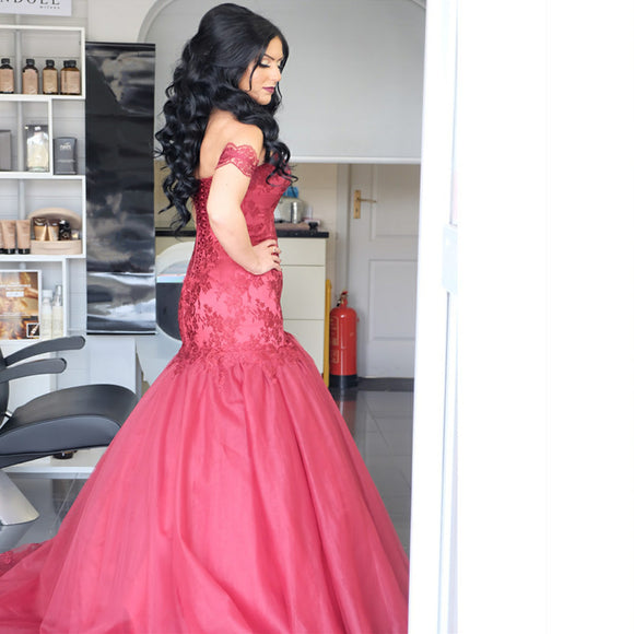 Burgundy Lace Appliques Tulle Mermaid Evening Gowns Off Shoulder