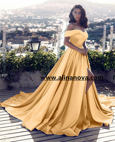 Image of Off Shoulder Long Satin Prom Dresses 2019 Formal Evening Gowns