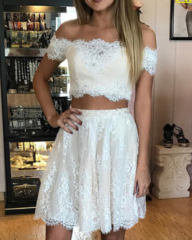 Image of Two Piece Lace Homecoming Dresses 2019