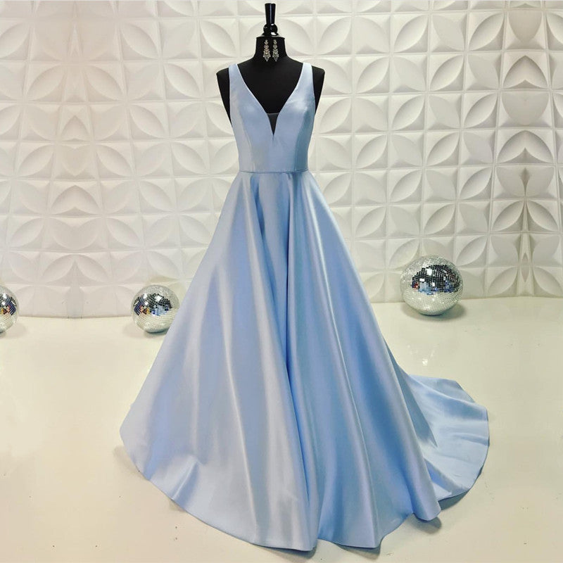Light Blue Satin V-neck Floor Length Evening Dresses 2019 Long Prom Gowns.  Double tap to zoom 7e3c4506700d