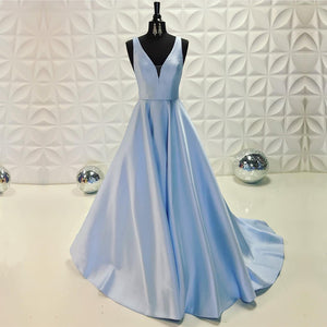 Light Blue Satin V-neck Floor Length Evening Dresses 2018 Long Prom Gowns