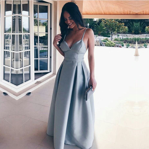 Spaghetti Straps Sweetheart Long Satin Floor Length Bridesmaid Dresses