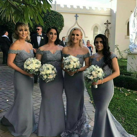 Image of Silver Lace V-neck Off The Shoulder Mermaid Bridesmaid Dresses