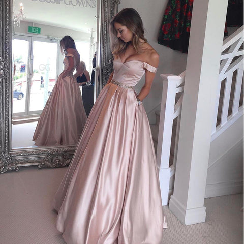 Image of V Neck Off The Shoulder Satin Prom Dresses 2019 Evening Gowns Beaded Sashes