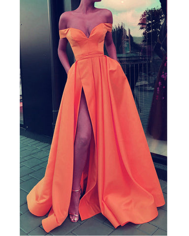 Image of Sexy Split Prom Dresses Long Satin Off Shoulder Evening Gowns