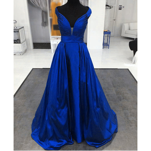 Image of Ruched Sweetheart Long Satin Evening Gowns Floor Length