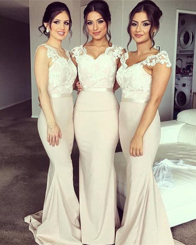 Image of Bridesmaid-Dresses-With-Lace-Sleeves